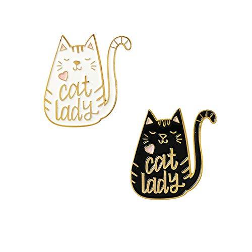 - Set of 2 Cat Lady Metal Lapel Pins, Cartoon Enamel Brooches for Denim Jacket Backpack Decoration