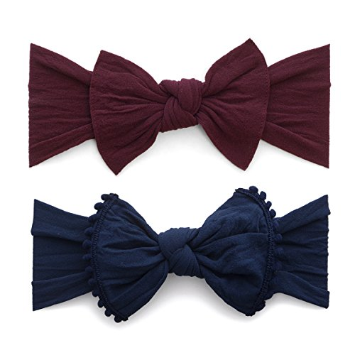 Baby Bling Bow 2 Pack: Trimmed and Classic Knot Girls Baby Headbands - MADE IN USA - Burgundy/Navy