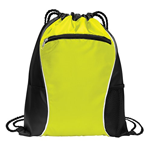 - Two-Tone Polyester Wholesale Durable Cinch Pack | Gym Drawstring Backpack Bags | Promotional Giveaway Gift Drawstring Backpack (6 Bags, Neon Yellow)