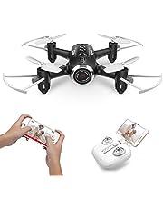 Mini micro Drone con Camara Syma X22W Rc Cuadricoptero para niños con luces LED, Wifi FPV, Modo sin cabeza, Plan de vuelo, Control de APP, Giroscopio de 360 grados, retención de altitud(Rojo)