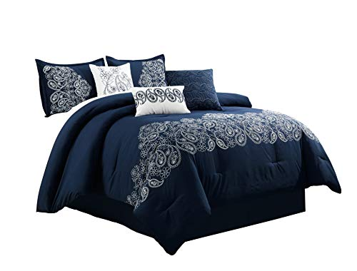 inz 7-Piece Paisley Floral Scroll Embroidered Comforter Set (King, Navy), White ()