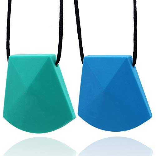Sensory Oral Motor Aide Chew Necklace for Boys Girls Adults, Silicone Round Chewy Jewelry for Autism, ADHD, Baby Nursing or Special Needs - Reduces Chewing Biting for Heavy Chewers - 2 Pack (T Shap)