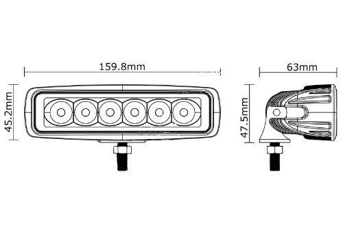 KAWELL 18W Led Work Spot Light Bar forboat//suv//truck//car//atvs light Off Road