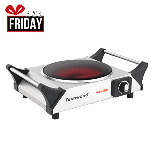 Techwood Hot Plate Single Burner Electric Ceramic Infrared Portable Electric Burner, 1200W, Stay-Cool Handles, Non-Slip Rubber Feet