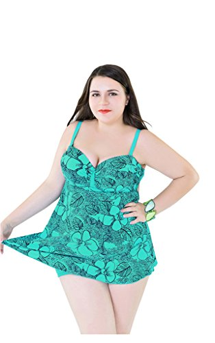 UDreamTime Dama 2 piezas Talla extra Swimsuit Trajes de baño swimFalda Unicornio
