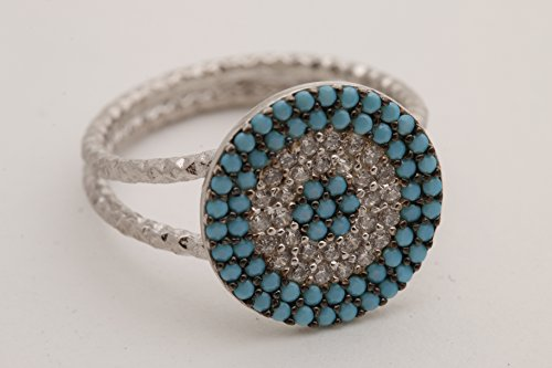 Evil Eye Protection Design Turkish Nazar Handmade Good Luck 925 Sterling Silver Round Cut Turquoise White Topaz Rhodium Ring All Size