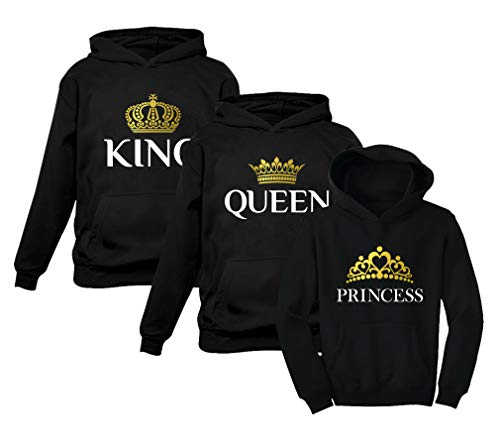 King Queen Princess Family Matching Hoodies Husband Wife & Girl Valentines Day Princess Black 2T / King Black Large/Queen Black Small