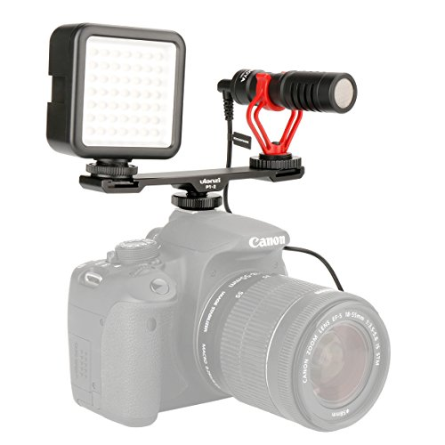 BOYA Dual Cold Shoe Mounts with BY-MM1 Microphone 49 LED Video Light for Facebook Youtube Vlogging Livestream on Camera for Canon Nikon Sony DSLR Cameras by BOYA