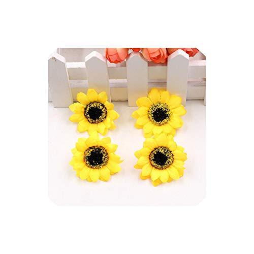 5Pcs Silk Sunflower Gerbera Artificial Scissors Waltz Wedding Decoration DIY Wreath Gift Craft Sunflower,Yellow,4Cm - Seed Wreath Sunflower