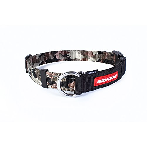 EzyDog Checkmate Martingale-Style Premium Nylon Safety Training and Correction Dog Collar - Quick-Clip Buckle and Reflective Stitching - Easy Control with no Choking Effect (Large, Green Camo) ()