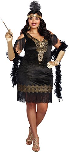 1920's Couples Halloween Costumes (Dreamgirl Women's Swanky Flapper Plus Size, Black/Gold,)