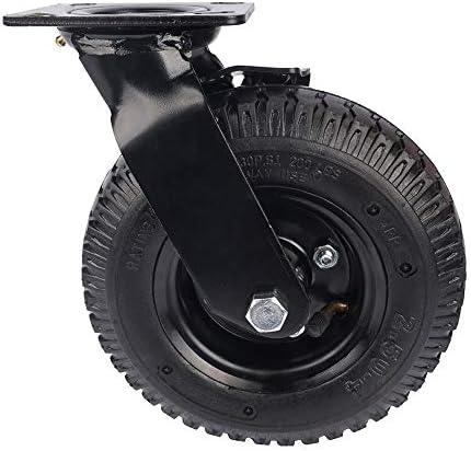 ユニバーサルホイール 産業トロリーでブレーキホイールノイズのない4パックヘビーデューティ212ミリメートルゴム膨らませて、回転ホイール 使いやすい (色 : Black, Size : 8in)