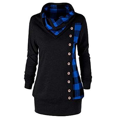 Women's Sweatshirt, FORUU Fashion Turn-Down Collar Button Plaid Patchwork Top Blouse at Women's Clothing store
