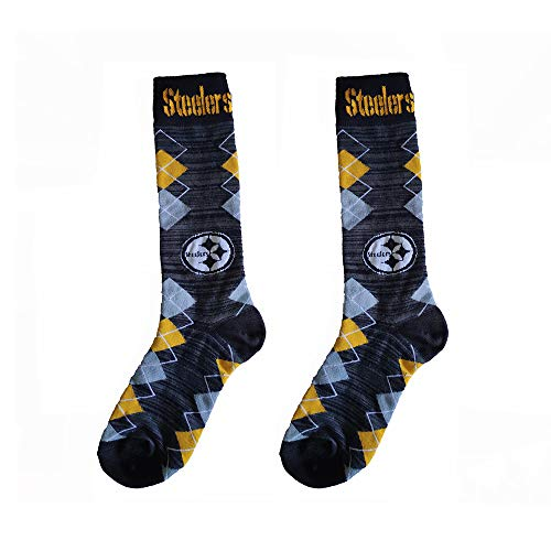 (Gloral HIF Pittsburgh Steelers Socks Argyle Athletic Crew Socks for Fans One Size Fits Most)