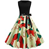 Women Fashion Christmas Print Dress Round Neck Long Sleeve Zipper Bow Hepburn Party Swing Dress Beige