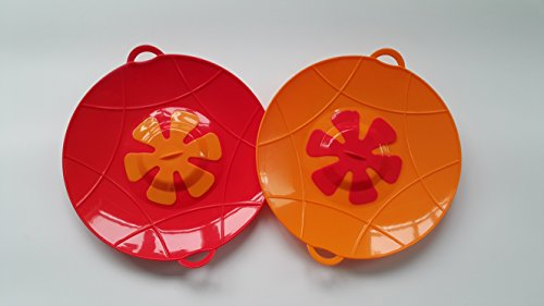 Large Silicone Lid Overflow Spill Stopper, Set of two,13 inch, Stove Top Protection, Boil Over Safeguard, BPA-free (Red & Orange)