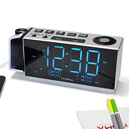 iTOMA Projection Alarm Clock with FM Radio,Dual Alarm Clock,USB Charging and Snooze Function,1.8-inch LED Display with Aujustable Brightness(IRP509)