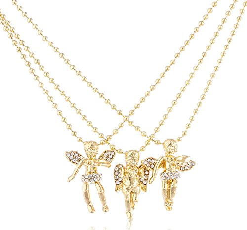 JOTW Goldtone 3 Layered Cherub Angel Micro Pendant 24 Inch Ball Chain Necklace Set (C-1126)