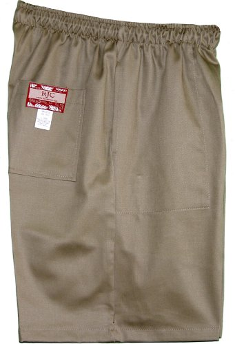 Men's Elastic Waistband 3 Pockets Cotton Twill Solid Shorts in Khaki - S