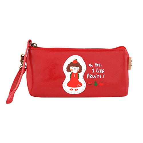 Damara Students Faux Leather Wallet Lovely Girl Printed Smooth Pen Case,Red