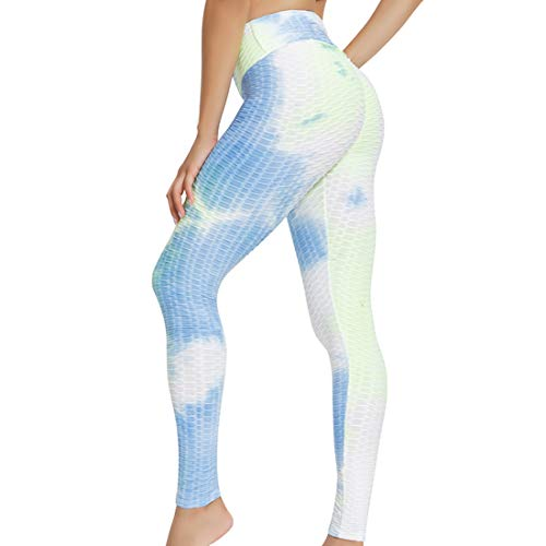 Women's Yoga Pants Bubble Booty Leggings Butt Lift Tie-dye Workout Tights
