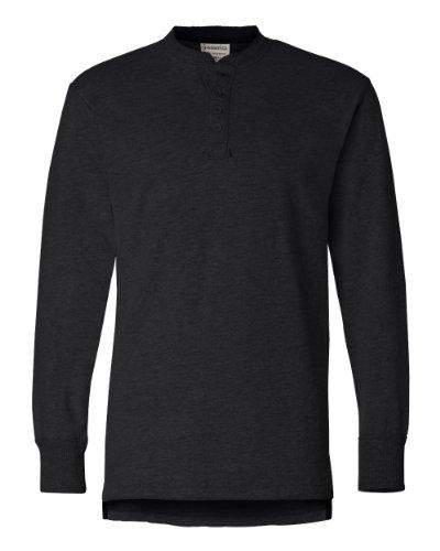J. America mens Vintage Brushed Jersey Henley(JA8244)-BLACK-L