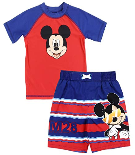 Mickey Mouse Little Boys' Toddler Rash Guard and Swim Trunks Set (3T) Red ()