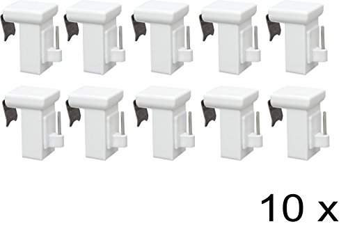 GARDUNA Dekohaken Fensterhaken Fensterclip verstellbar variabel / 10 Stück / weiss / für alle Fensterflügel von 10-27mm