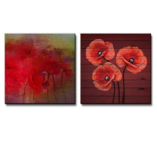 Red Flowers with a Green Vignette Along with Red Poppies Over Cherry Wooden Panels