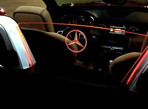 (2012-Current Mercedes Benz SLK Convertible Wind Deflector - Control air flow, cut down backdraft, wind noise - Patented - Easy Install, Secure Mounting - Laser-Etched Custom Design - Red Lighting )