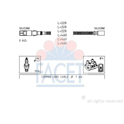 Facet 4.9643 Ignition Leads Kit:
