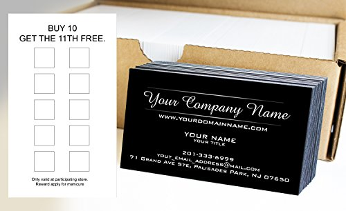 Custom Loyalty Cards 500pcs- Customize (front&back), Two Line Design, Black - Offset Printing, Made in The ()