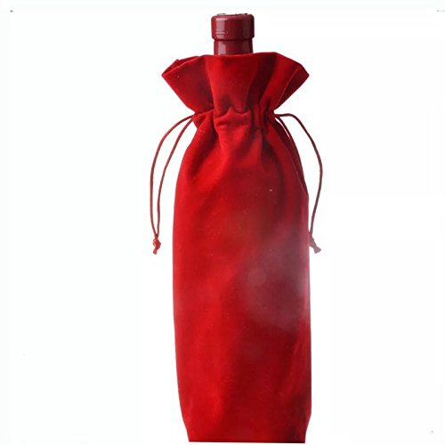5 Pcs Velvet Pull Rope Red Wine Bag (Dark (Velvet Bottle)