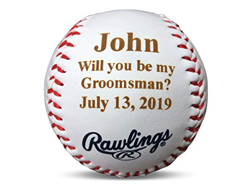 - Rincon Arts Engraving Personalized Groomsman Best Man Invitation Gift Baseball, Will You Be My Groomsman Proposal Wedding Keepsake, Custom Engraved Baseball