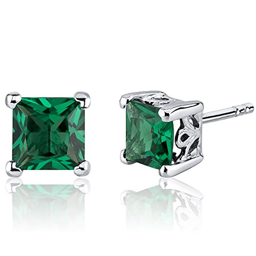Simulated-Emerald-Princess-Cut-Stud-Earrings-Sterling-Silver-200-Carats