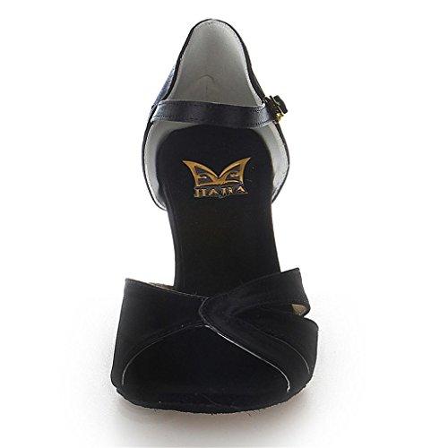 Jia Jia 20512 Damen Sandalen Ausgestelltes Heel Super-Satin Latein Tanzschuhe Schwarz