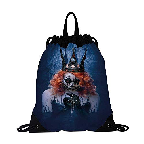Queen Canvas Drawstring Bag,Queen of Death Scary Body Art Halloween Evil Face Bizarre Make Up Zombie for Shopping -