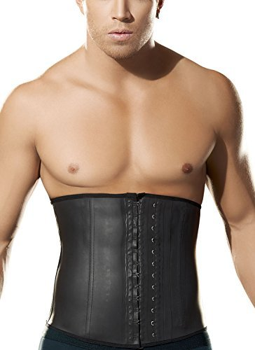 0419543e1a95e Men s Latex Waist Cincher Girdle Elastic Abdomen Control Trainer with  Adjustable Hooks Size L Black
