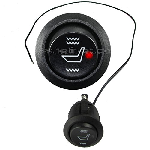 Water Carbon Illuminated Seat Heater Hi/lo/Off Round Rocker Switch Opening Size:19mm 40cm Long Wire with a Negative
