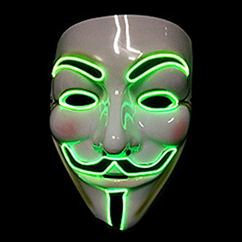 [Bonamana Cool V for Vendetta Guy Fawkes Mask LED Light Up Mask Costume EL Wire Halloween Mask (Fluorescent] (Rorschach Halloween Costumes)