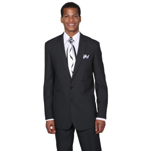 Milano Moda Men's 2 Button Single Breasted Dress Suit With Double Vents 52L Black