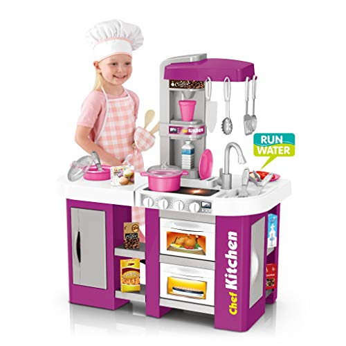Deluxe Kitchen Playset, Mosunx Kids Play and Pretend Kitchen Set with Sound and Lights,Simulation Cooking Toys for Boys Girls Over 3 Years Old (Purple, for 3Years Old +)