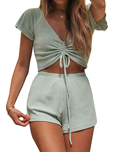 SNRC Women Solid Color Textured Cinched Raglan Sleeve Loose Shorts Set Light Green