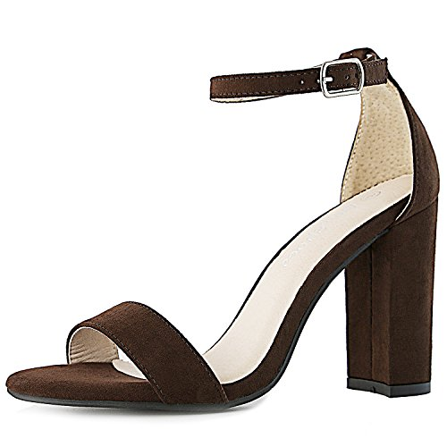 DailyShoes Women's Women's Chunky Heel Sandal Open Toe Wedding Pumps with Buckle Ankle Strap Party Evening Shoes, Brown Suede, 8.5 B(M) ()