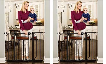 Regalo Home Accents Extra Wide Walk Thru Baby Gate, Includes D cor Hardwood, 4-Inch Extension Kit, 4-Inch Extension Kit, 4 Pack of Pressure Mount Kit and 4 Pack of Wall Cups 2- Pack