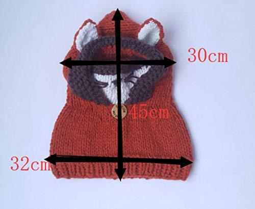ARAUS-Bonnet Chaud Chapeau Cagoule Renard Bebe Enfant Echarpe Hiver Automne  en Laine Tricote 9a9abfa9ad8