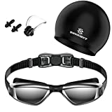 Ksingo Swimmaxt Swimming Goggles + Nose Clip + Ear Plugs, Anti Fog UV Protection for Adult Men Women Youth Kids Child (Pro-Black)