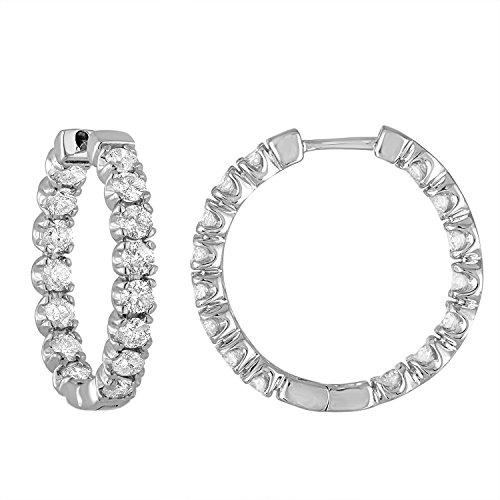 4 cttw SI2-I1 Clarity Certified Diamond Hoop Earrings 14K White Gold, K-L Color