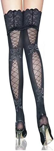 Sexy Black Stockings for Women - Wide Lace Top Thigh High Stockings Patterned
