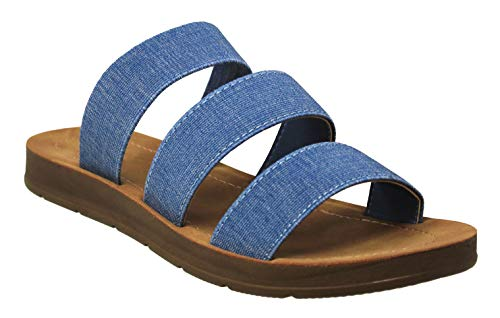 - MVE Shoes Women's Summer Triple Strap Cushioned Flip Flops, Hoping Denim 8